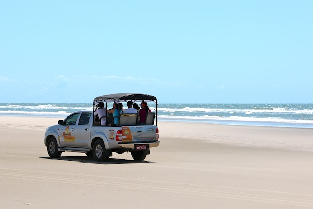 Grande parte do trajeto foi feito pela praia