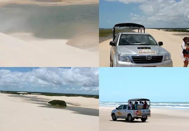 De 4x4 (jardineira) pela praia, passando pelos Pequenos Lençóis até chegar na Praia de Caburé