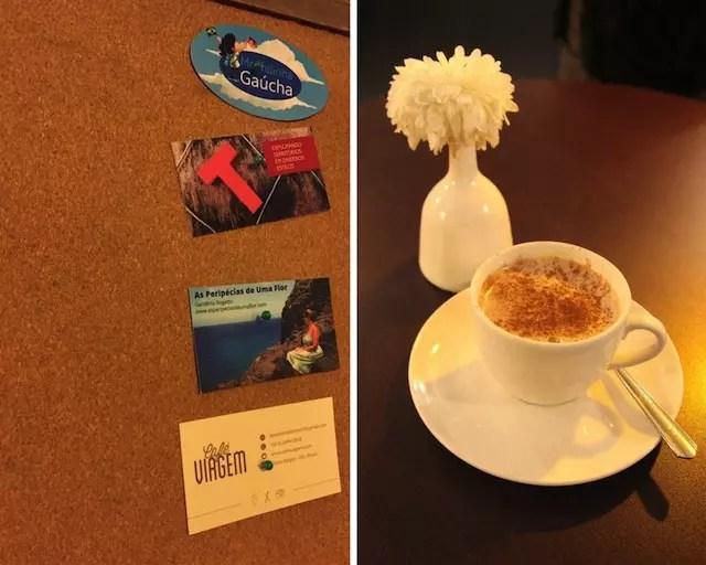 Nossos cartões de visita do blog ficaram no mural do café. Adoramos!!