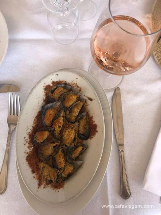 Negroamaro rosé com frutos do mar