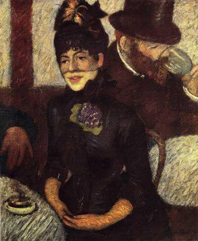 sognando nella sala wagner (Federico Zandomeneghi, Al caffè, 1884)