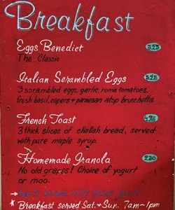 Caffe Ladro weekend breakfast menu from 1995
