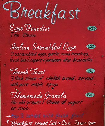 Caffe Ladro weekend breakfast menu from 1995 at the first cafe