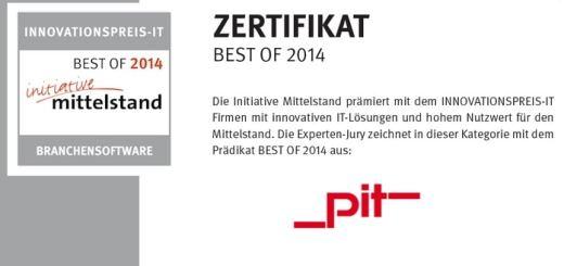 Ausgezeichnet: pit-cup gehört beim Innovationspreis-IT zu den Best-of-IT 2014