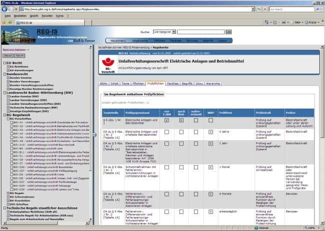 Screenshot von REG-IS: Übersichtlich und vielfältig ist der Inhalt