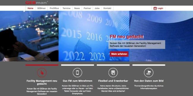Die Startseite der neuen GEBman Website