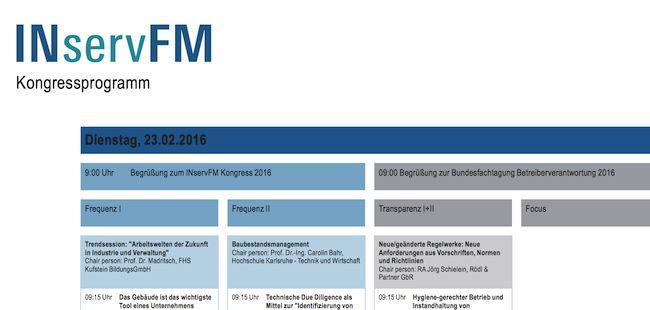 Messeveranstalter Mesago hat jetzt ein vorläufiges Programm für den INservFM Kongress veröffentlicht