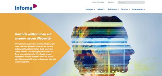 Die neue Website von Infoma verzichtet fast vollständig auf das bisher populäre Gelb, dazu ist die Wortmarke neu – und zu einer Wort-Bild-Marke geworden