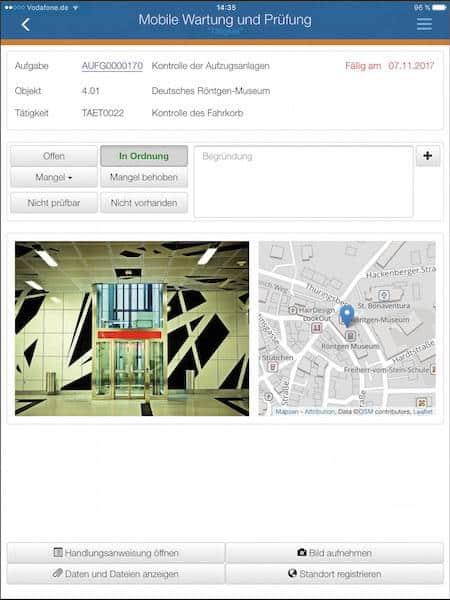 Ebenfalls auf der Kommunale zu sehen: Die App »Mobile Wartung und Prüfung«