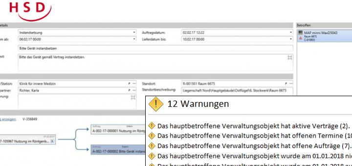 Ein neues Pop-up Fenster informiert Anwender von HSD Nova FM jetzt direkt über wichtige Aspekte eines gewählten Objektes