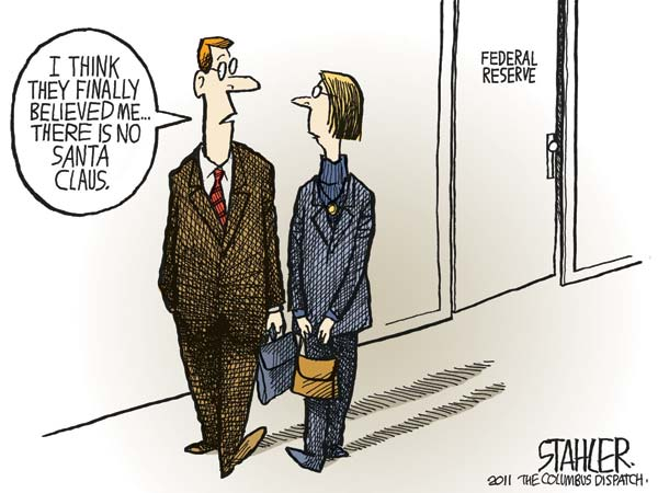 Is Anand trying to tell us that Americans were earlier all Santa Claus? (Cartoon by Jeff Stahler; 9/21/2011; source and courtesy - cagle.com). Click for larger image.