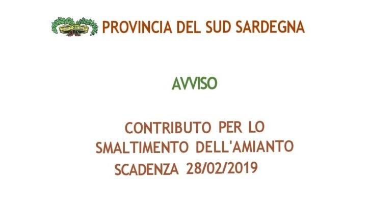 Sud Sardegna. Contributo a fondo perduto per smaltimento amianto