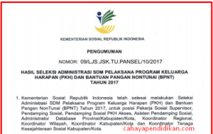 Pengumuman Hasil Seleksi Administrasi SDM Pelaksana Program Keluarga Harapan PKH