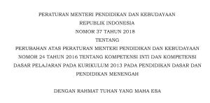 Permendikbud 37 Tahun 2018