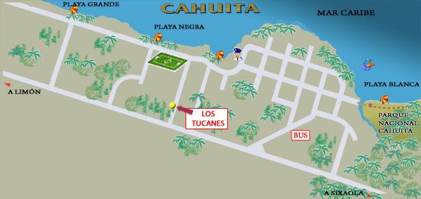 Map Parque Nacional Cahuita Costa Rica