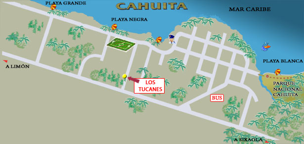 Mapa Cabinas Los Tucanes en Cahuita (Costa Rica)