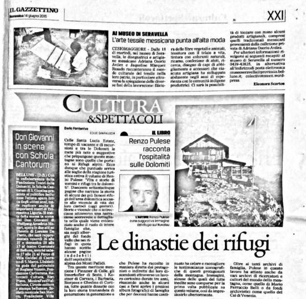Vita e Storie di Uomini e Rifugi tra le Dolomiti  04/12/2015
