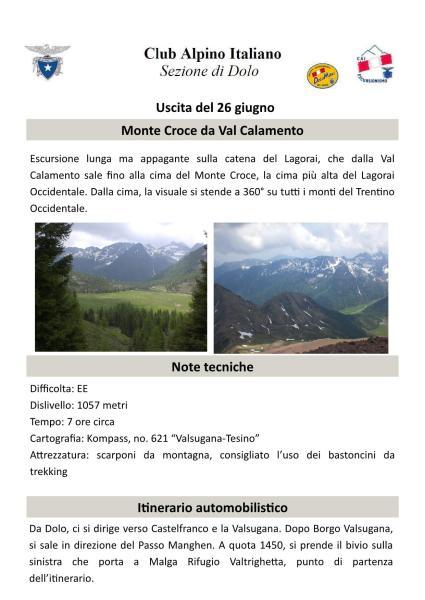 Monte Croce da Val Calamento - Uscita del 26/06/2016