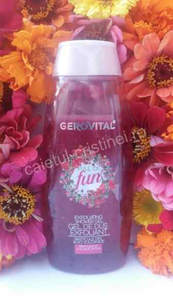 gel de dus Gerovital exfoliant full of fun cu rodie