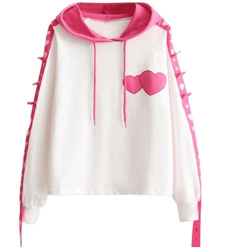 hanorac alb cu inimioare roz