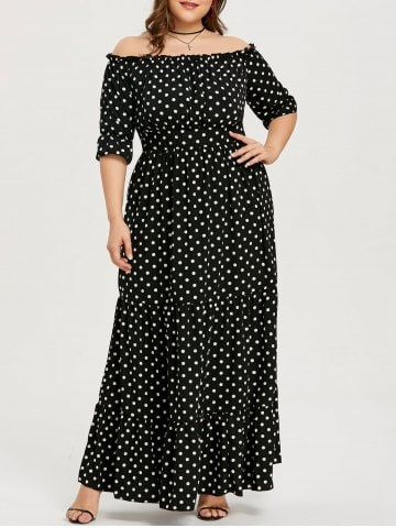rochie neagră cu buline plus size