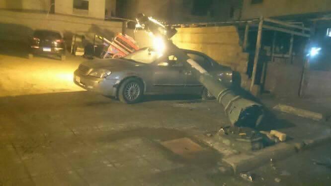 سقوط أعمدة الإنارة بالإسكندرية