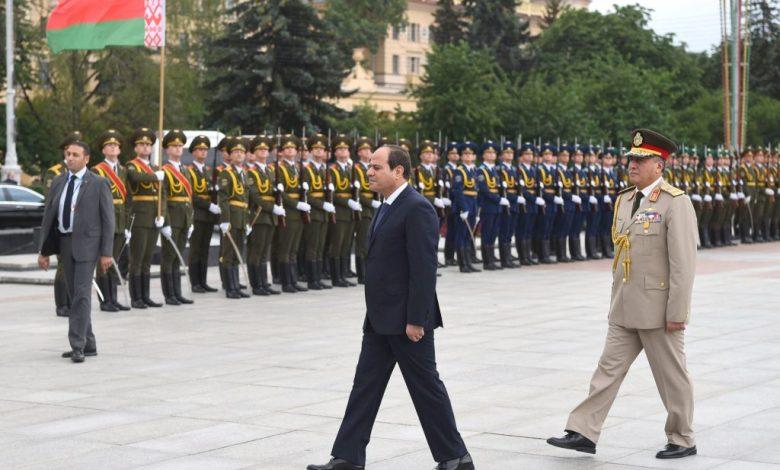 10 صور تجسد مراسم استقبال الرئيس السيسي ببيلاروسيا