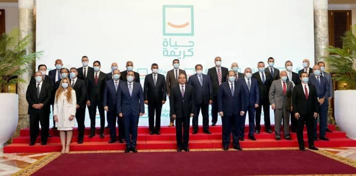 الرئيس السيسي يلتقي رجال الأعمال المشاركين في حياة كريمة