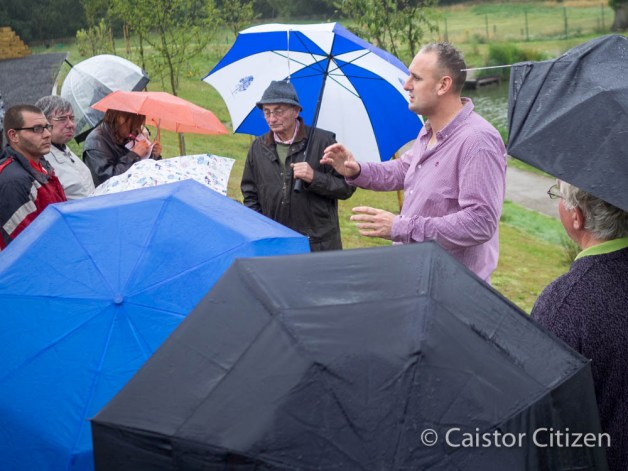 The rain does not stop the new Caistor Fisheries Owner Andrew Thompson