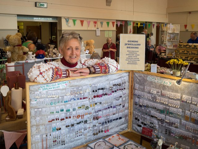 Hazel Ann from Brookenby enjoyed her weekend at, showing her gem designs to vistors from far and wide, including South Africa