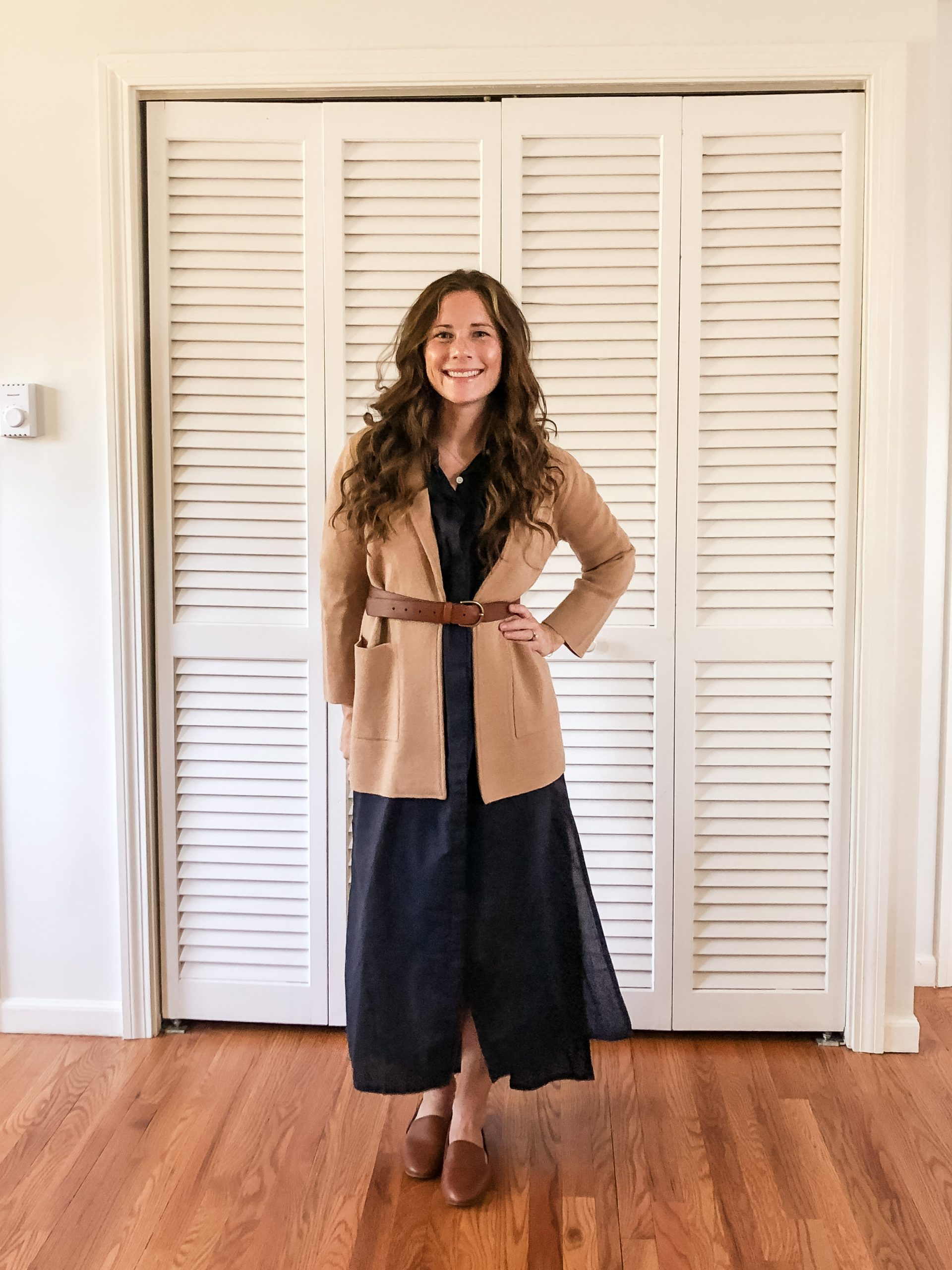 Early Fall Style - Easy Navy maxi with Leather Belt over Sweater Cardigan from JCrew - Preppy New England Style for Fall