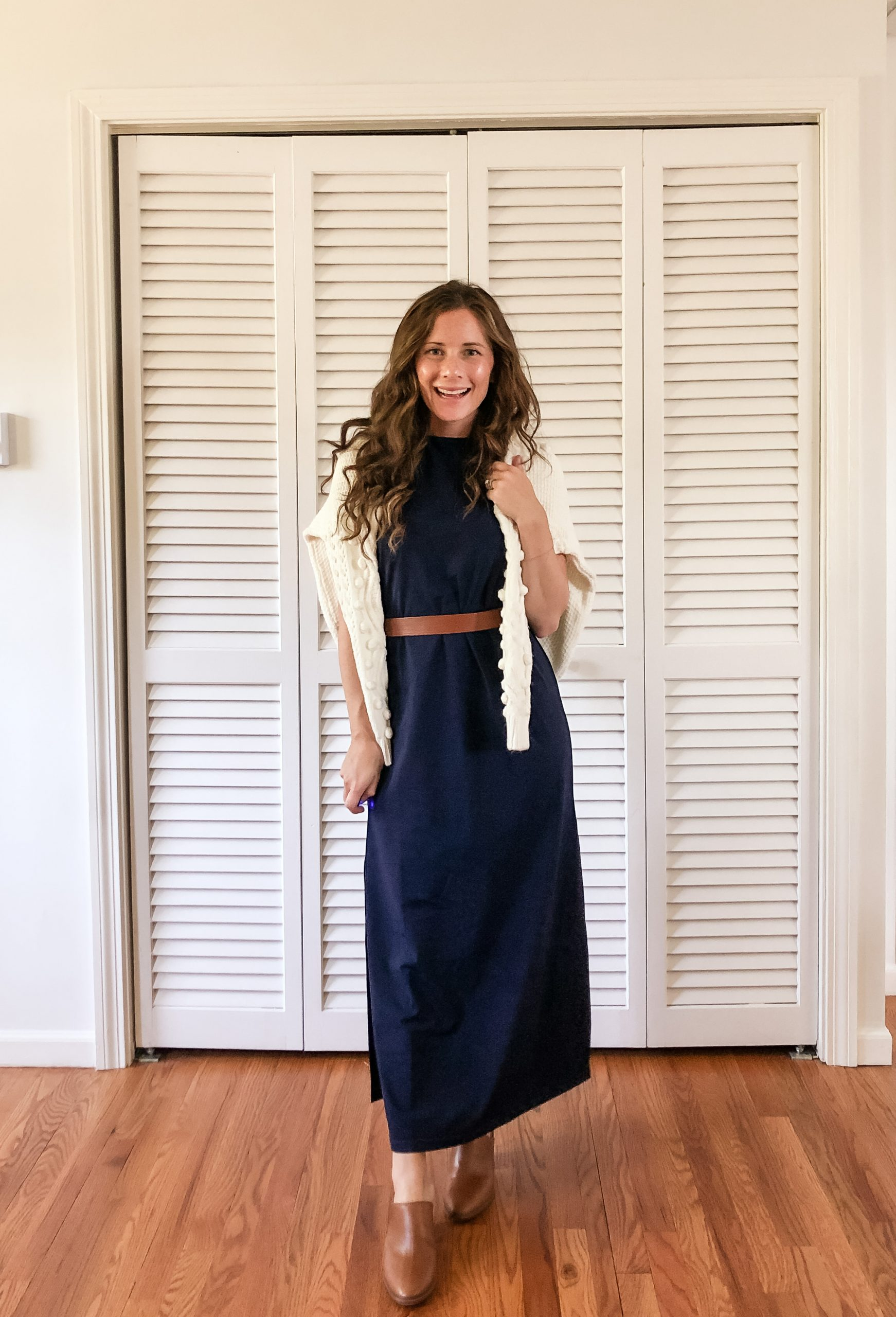 navy maxi belted with sweater shawl early fall outfit