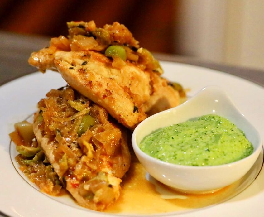 Braised Chicken Breast with Green Olives & Jalapeno Pesto