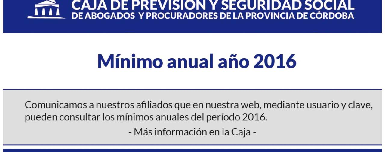 Mínimo anual año 2016