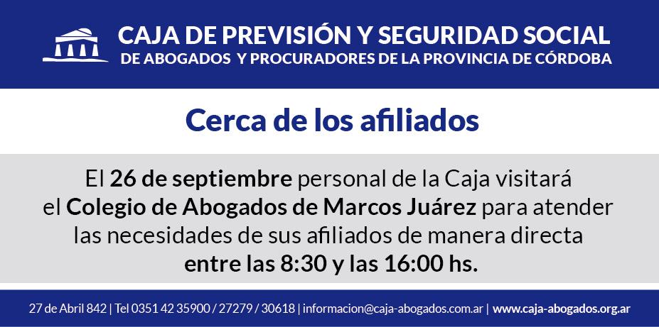 El 26 de septiembre visitaremos el Colegio de Abogados de Marcos Juárez