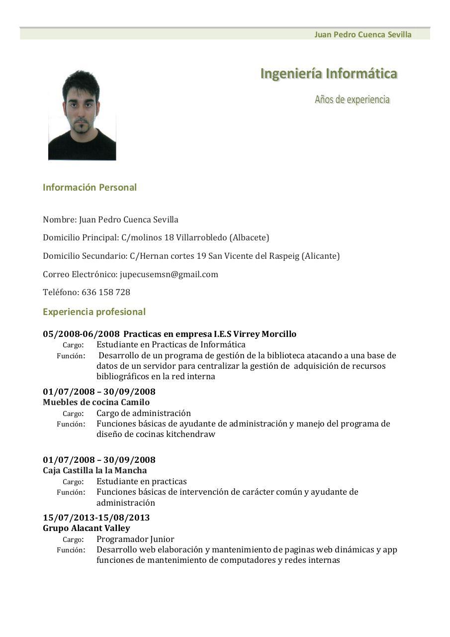 Modelo De 1 Curriculum Vitae - Modelo De Curriculum Vitae