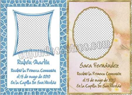 Descargar gratis 2 tarjetas recordatorios de Primera Comunion