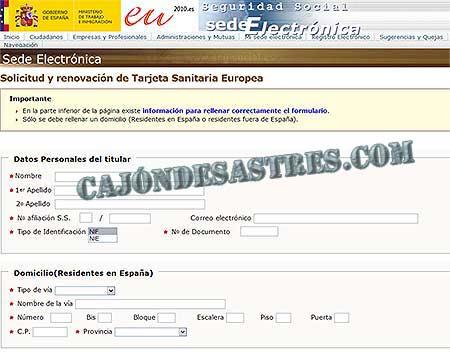 Manual Para Solicitar Online La Tarjeta Sanitaria Europea Cajon