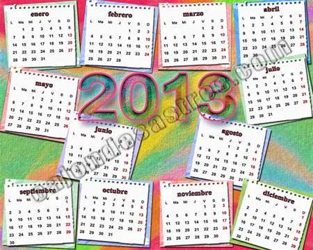 calendario 2013 con fondo de colores