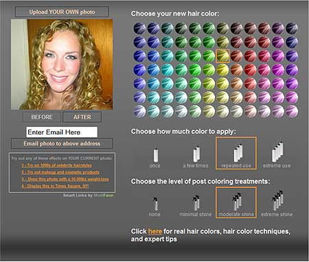 Cambio de color de cabello virtual online