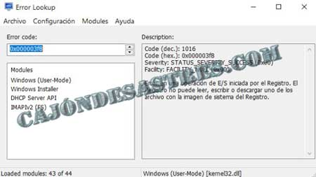 informacion errores de windows