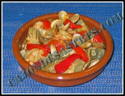 receta de alcachofas con almejas y gambas