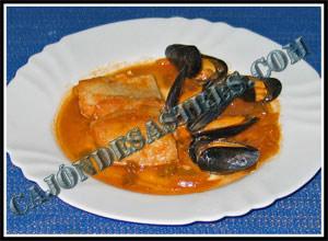 Receta de bacalao en salsa de mejillones