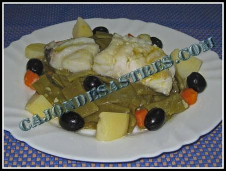 receta de ensalada de judias verdes con lomos de bacalao