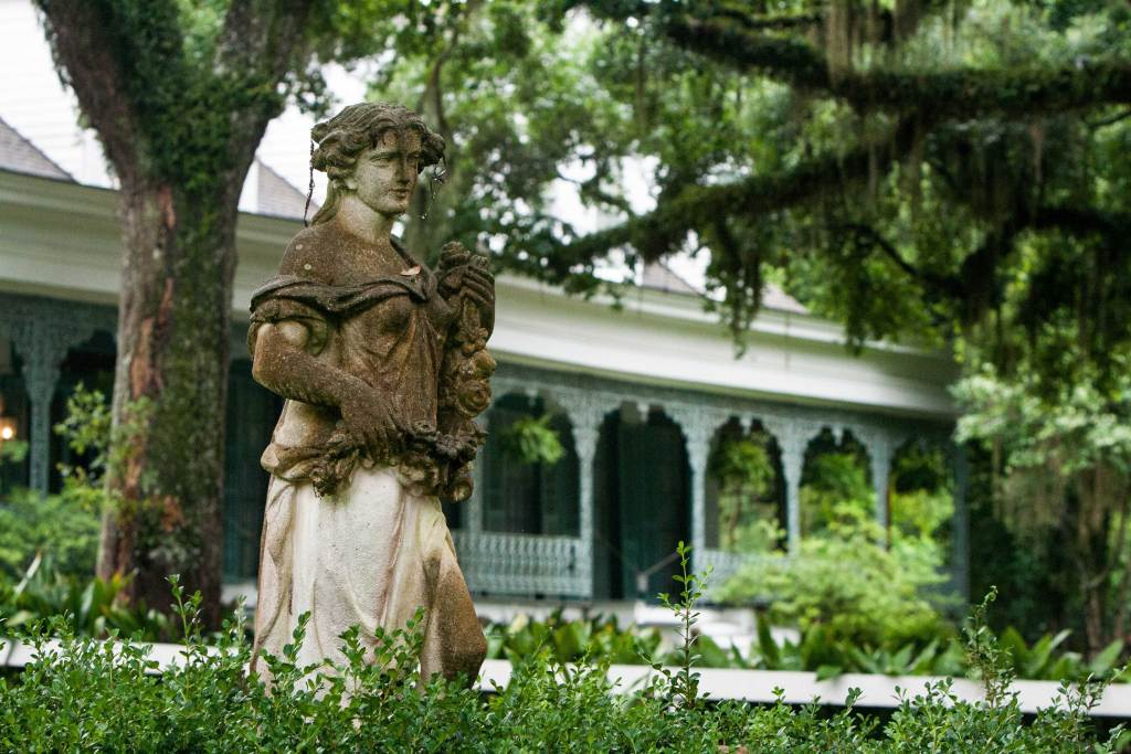 States are common at most plantation homes. This is the statue at the entrance to the Myrtles Plantation. The front porch is in the background.