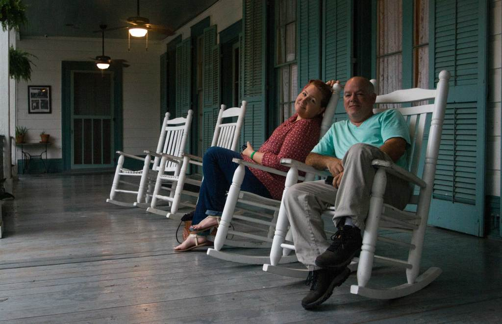 Tricia and Craig enjoying the back porch, waiting for the arrival of our ghost hunting partners. The picture hanging on the wall in the background documents the Chloe ghost image.