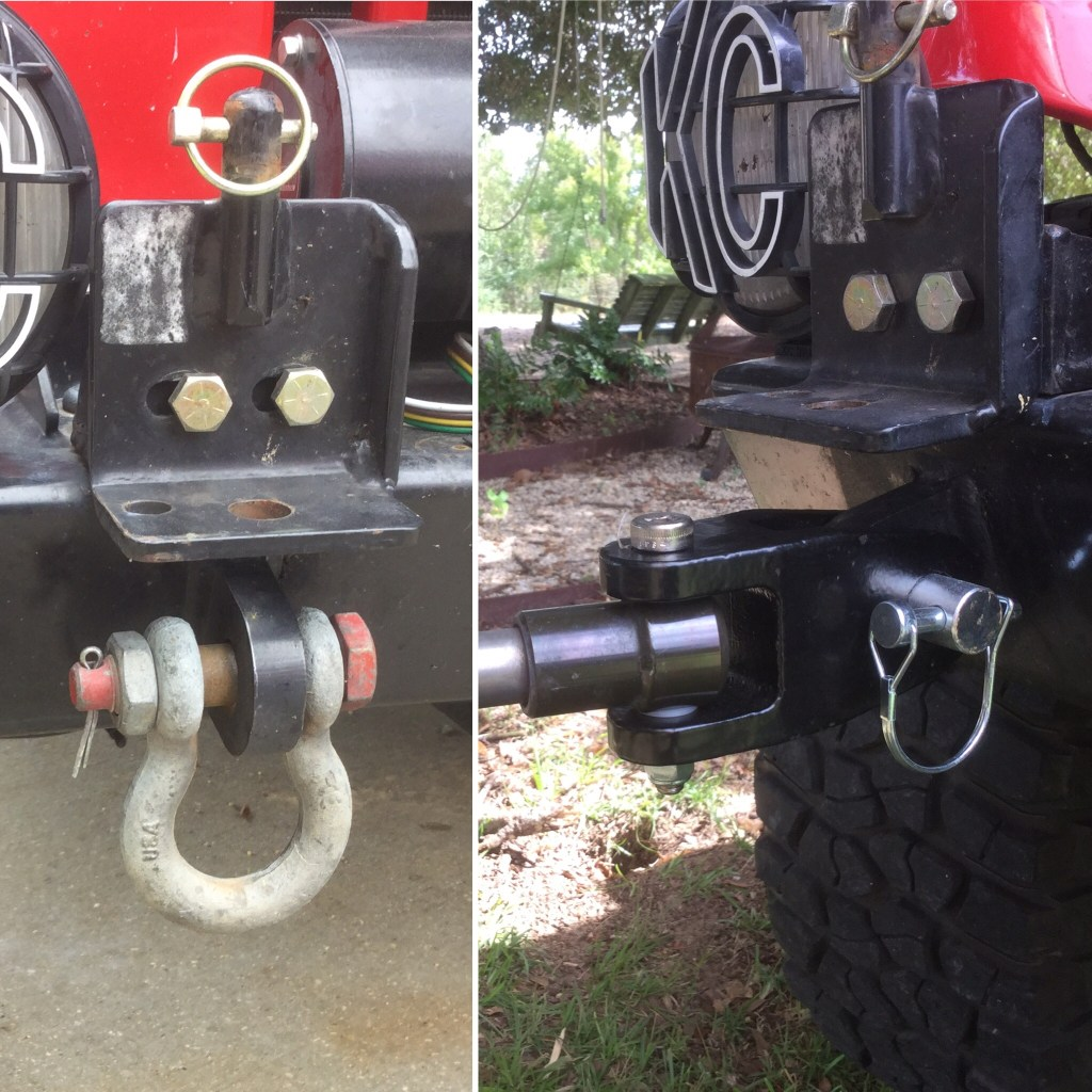 The image on the left shows where the D-ring (shackle) is attached. When removed, the updated adapter (on right) can be attached directly to the bumper with a large diameter pin. The original hardware is still connected above the D-ring and adapter.