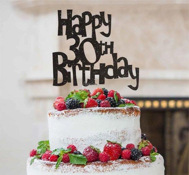 Lissielou Black Happy 30th Birthday Glitter Card Cake Topper Frm 3 71