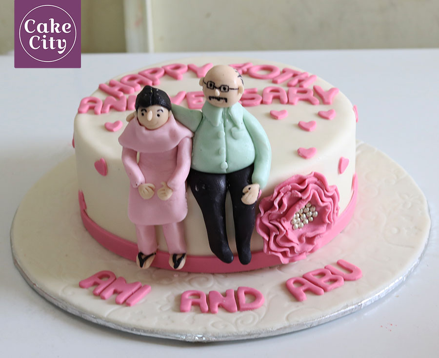 Parents Anniversary Cake   Fondant cakes   Wedding Anniversary cakes Parents Anniversary Cake