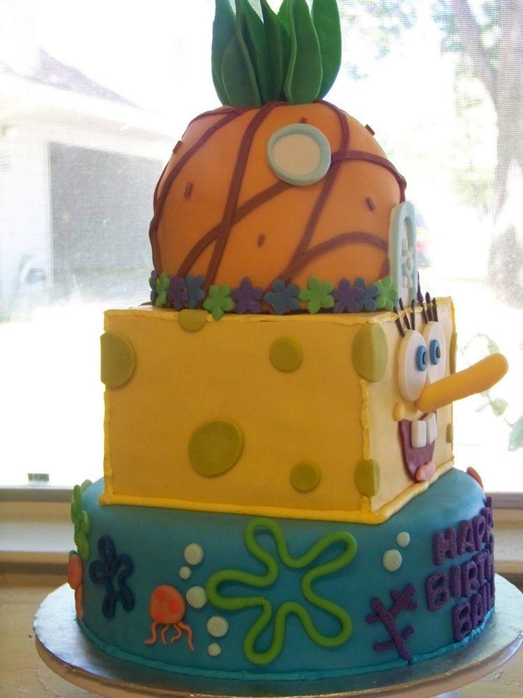 3 Tier Spongebob Cake